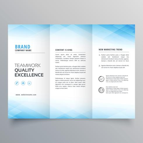 Plantilla de diseño de folleto elegante folleto tríptico azul
