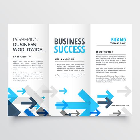 tri fold brochure design in creative business arrows style