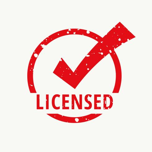 licensed red stamp vector