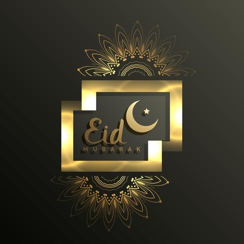 golden eid mubarak card design for muslim festival