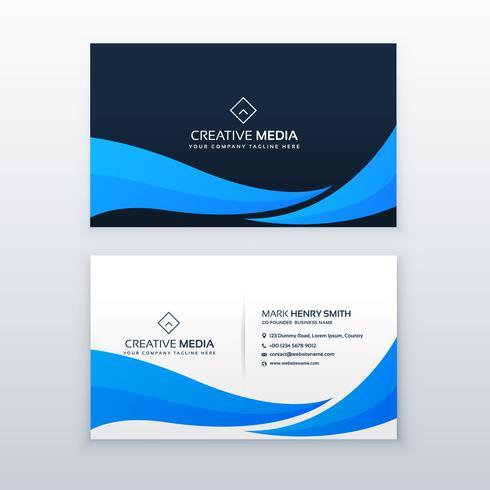 blue wave business card design template