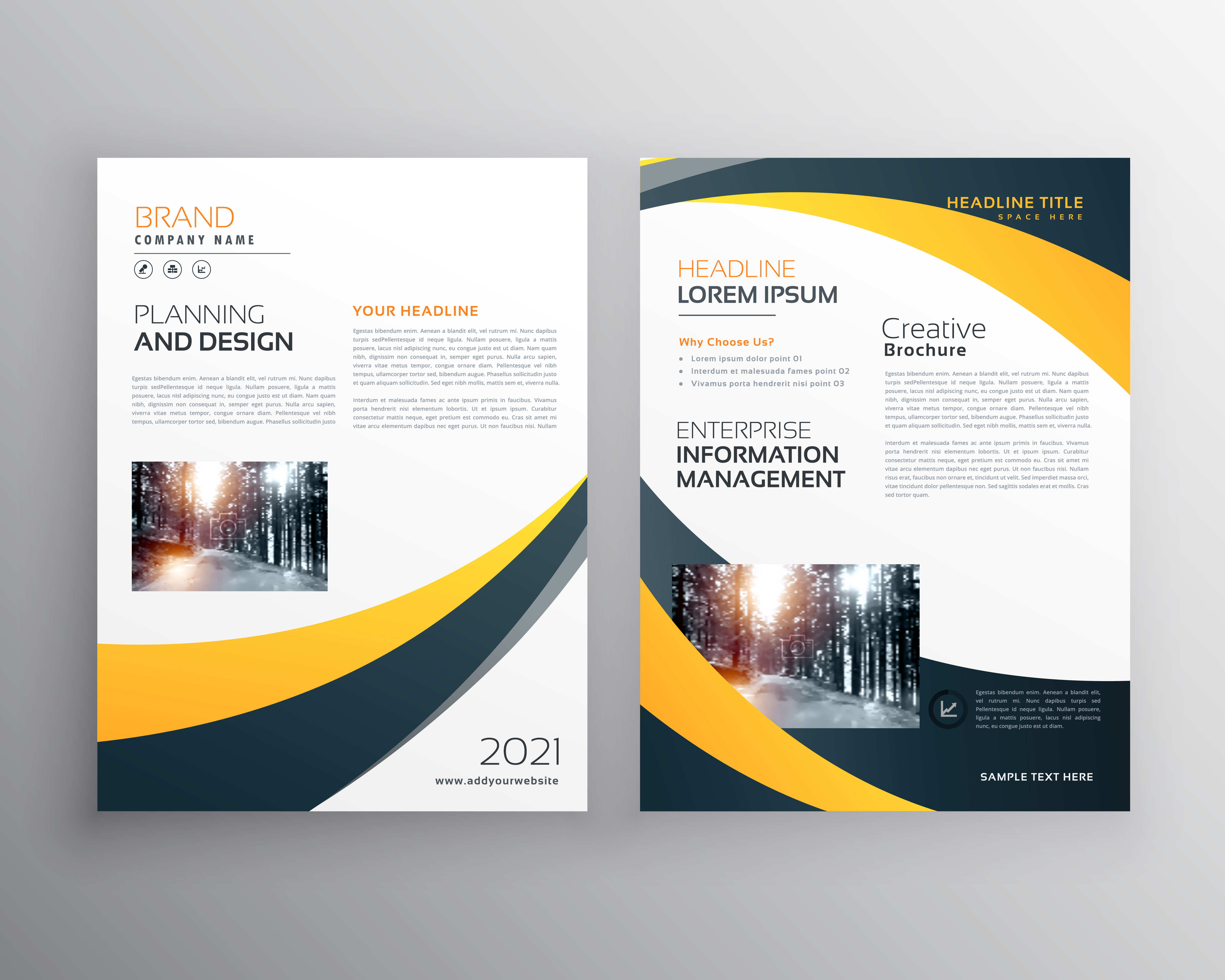 Modern business brochure design template with yellow black for Modern brochure design