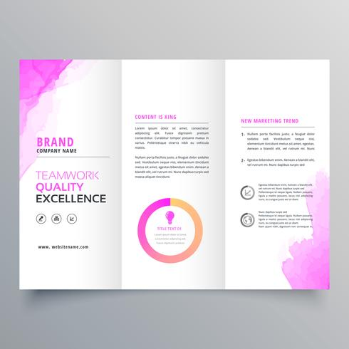 company business trifold brochure layout template with marketing