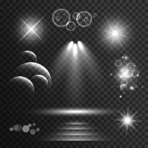 set of transparent light effects and sparkles with lens flares b