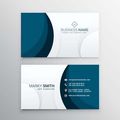 elegant minimal blue wave business card