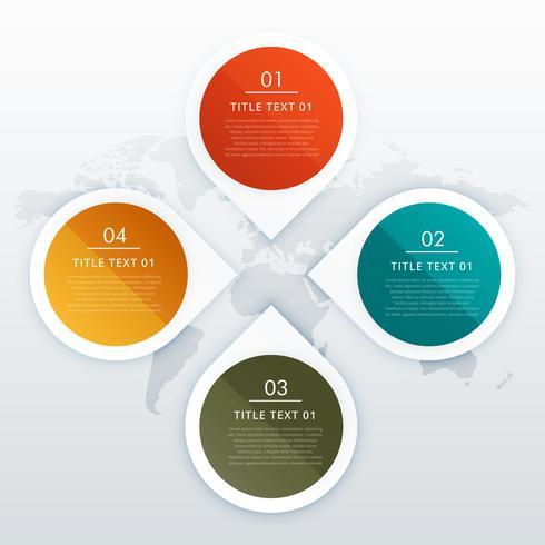 Diseño de infografías de cuatro pasos estilo círculo y flecha para busine