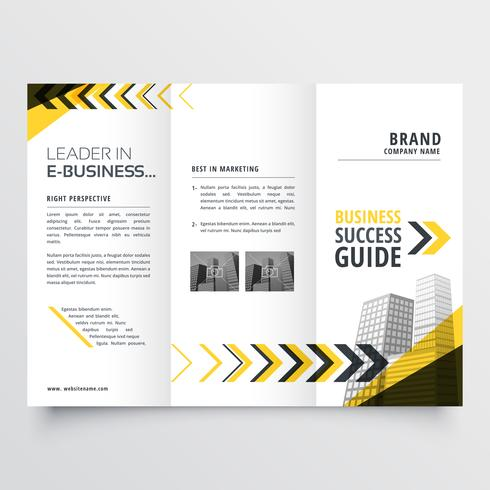 awesome tri fold brochure design in yellow black shapes with arr