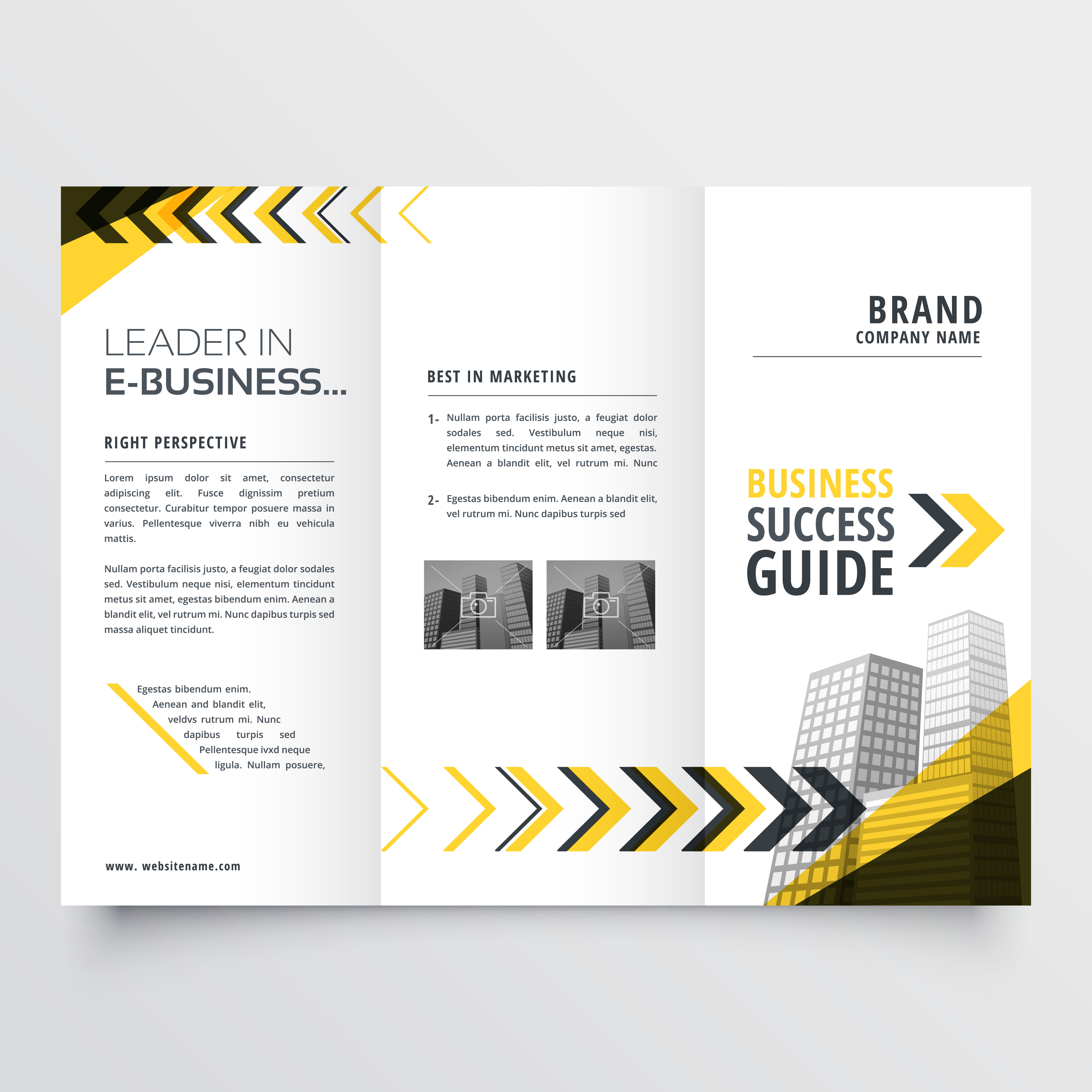 Awesome tri fold brochure design in yellow black shapes for Awesome tri fold brochure design