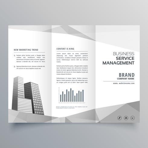 verbazingwekkende driebladige brochureontwerp met bedrijf op grijze geometrische