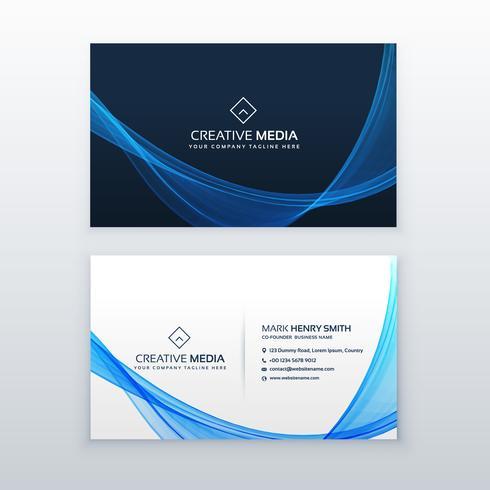 blue wave vector business card design template