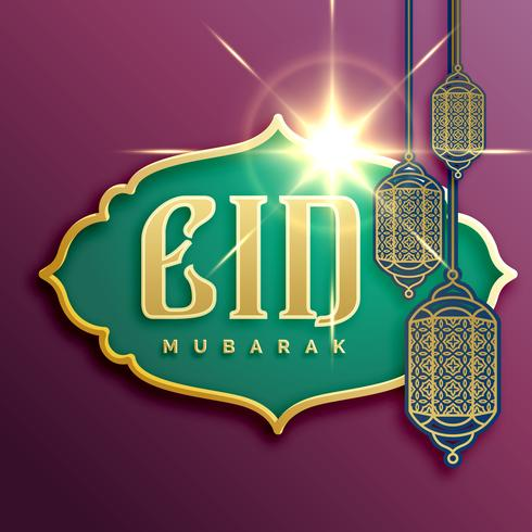 eid mubarak festival card design with hanging lamps