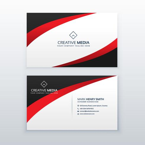 red business card design with wave effect