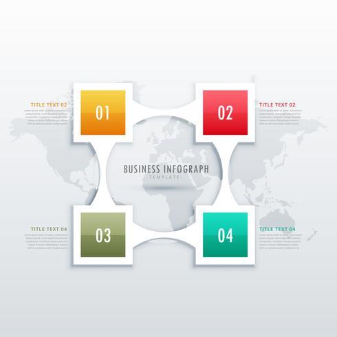 Plantilla de infografía creativa de cuatro pasos para presentación de negocios.