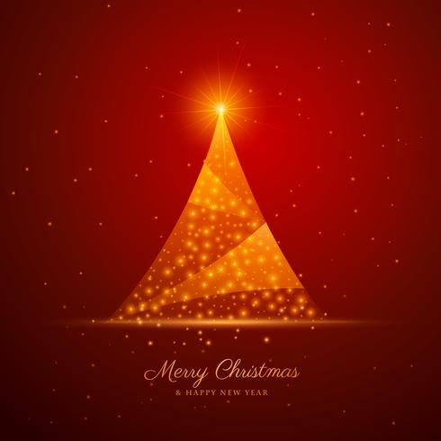 beautiful creative christmas tree design on red background