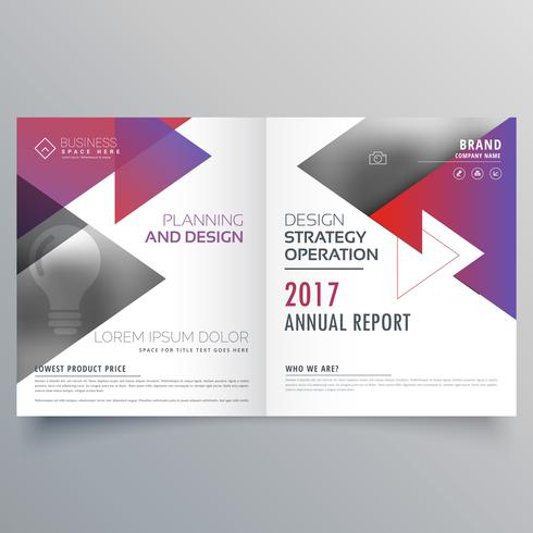 bifold brochure template design with triangle shapes
