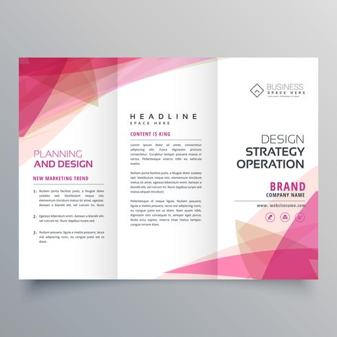 abstract pink trifold business brochure design