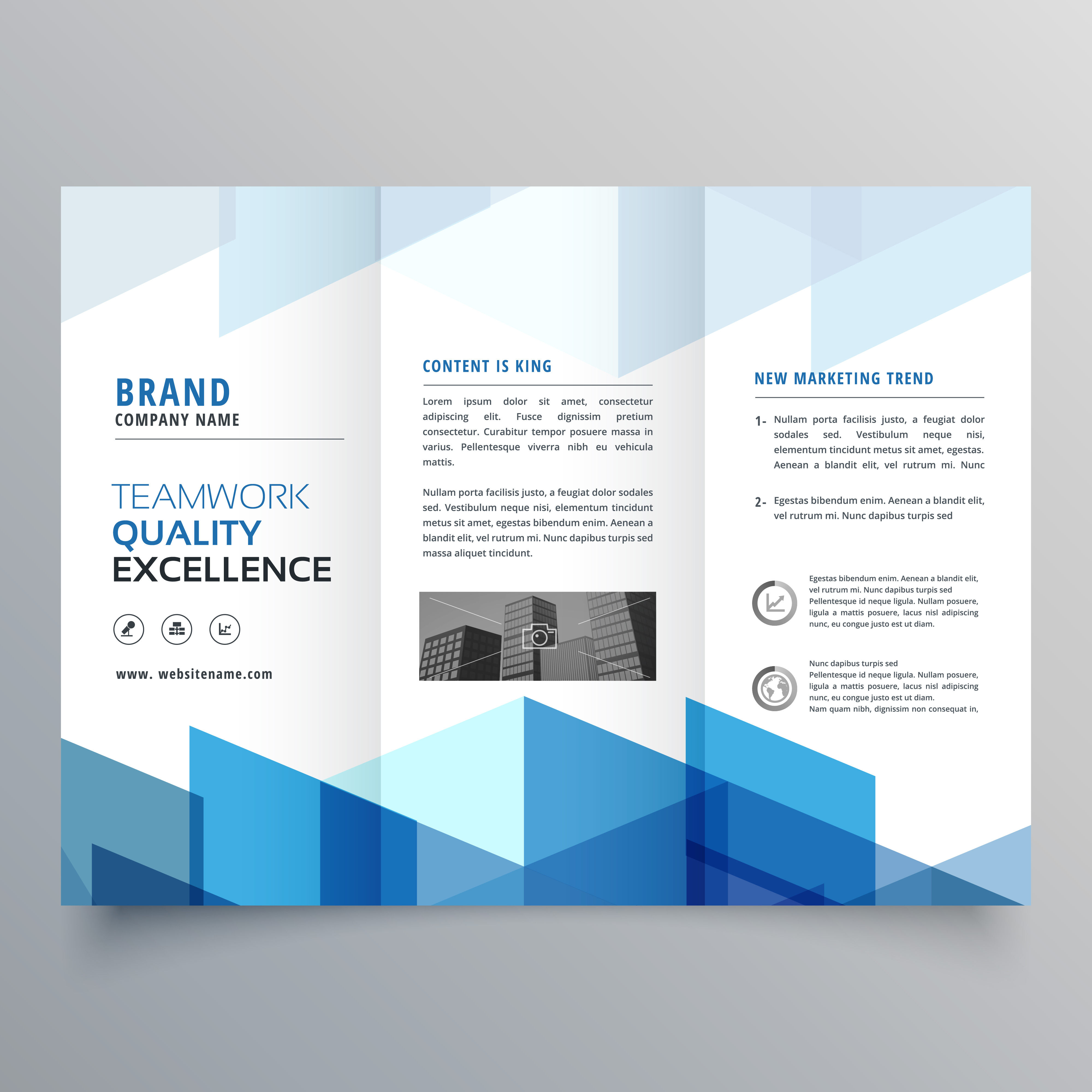 blue geometric tri fold business brochure design template
