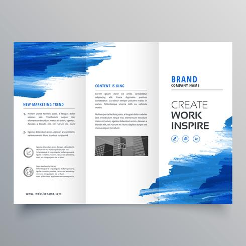 abstract watercolor business trifold brochure design template