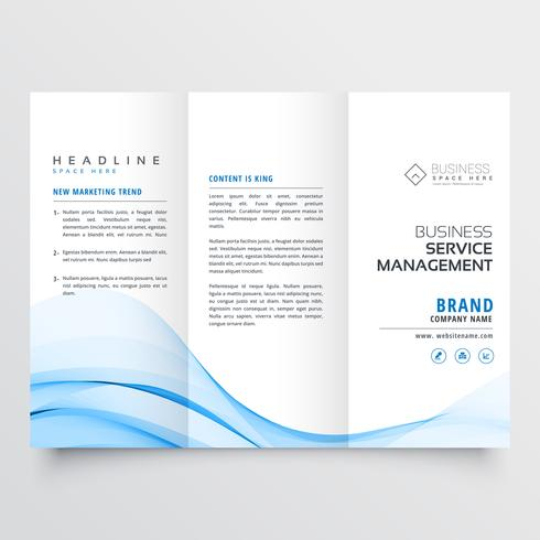 professional tri-fold brochure design with blue wave shape