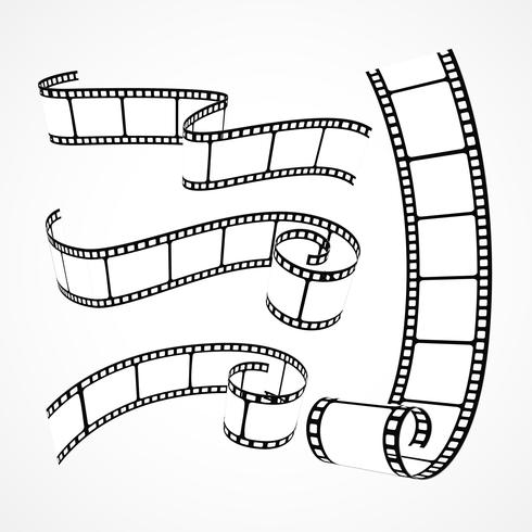 collection of 3d film strips on white background