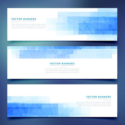 blue business horizontal web banners set