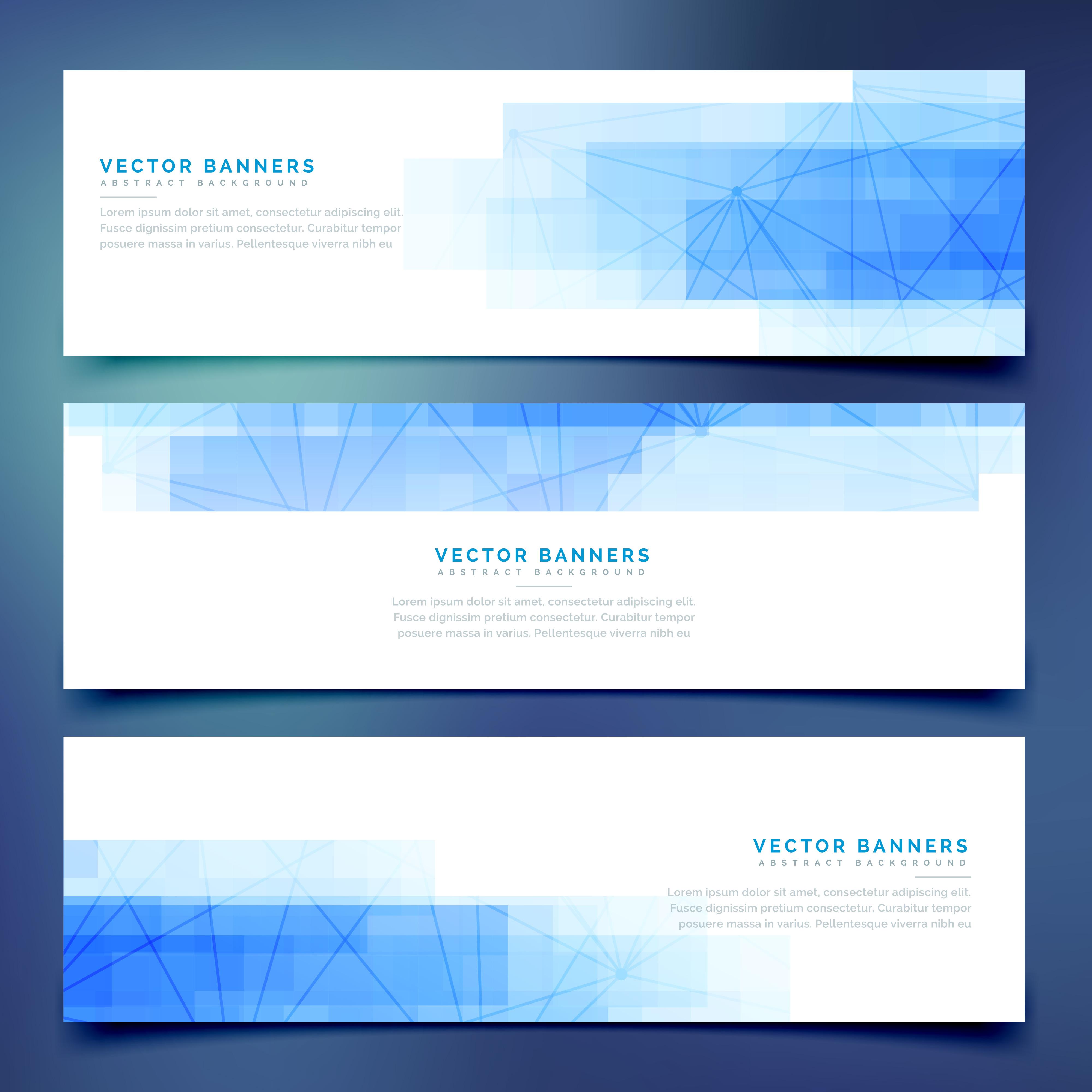 Blue Business Horizontal Web Banners Set
