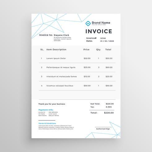 diseño de plantilla de factura mínimo vector