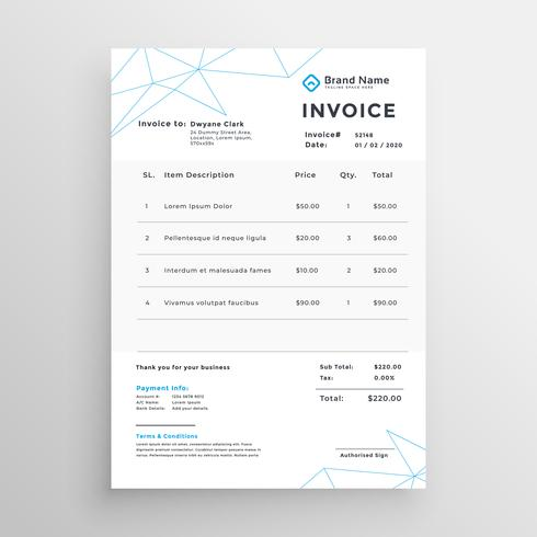 minimal vector invoice template design download free vector art