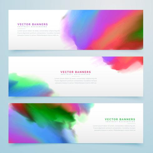 abstract watercolor banners set background