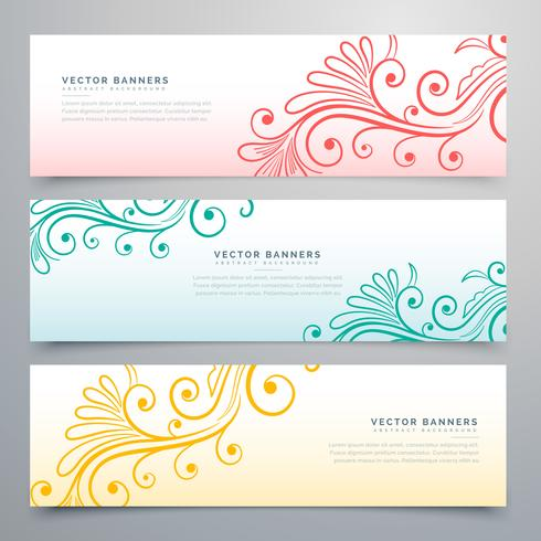 stylish floral banners set of three