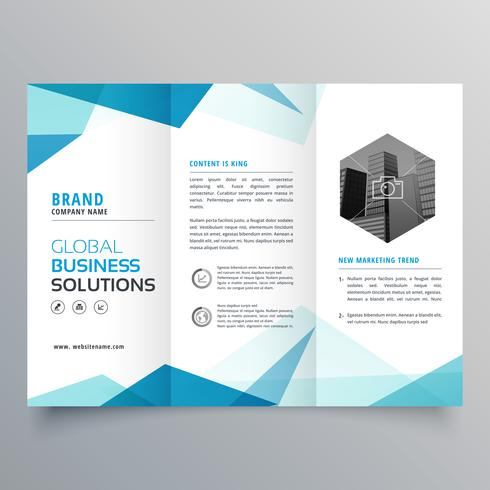 abstract blue business trifold brochure design template