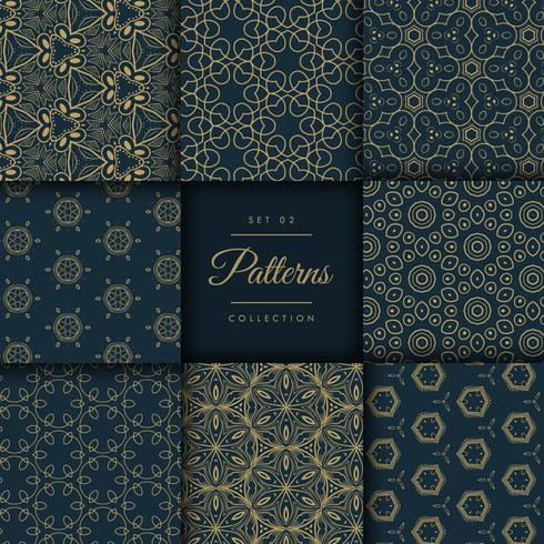 abstract dark patterns pack in floral style in gold color