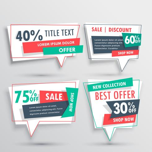 collection of discount banners in origami chat bubble style
