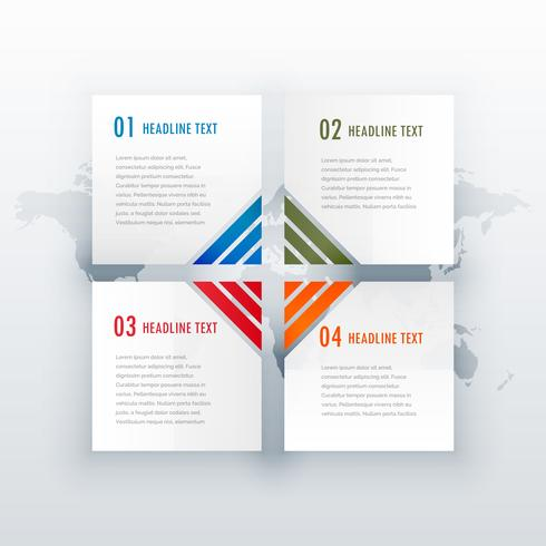 weißes Infografiedesign mit vier Schritten für das Web- oder Workflow-Layout dia