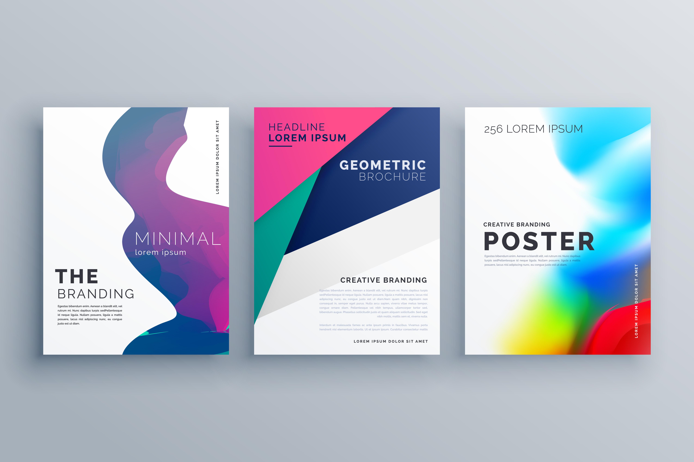 set of minimal brochure template leaflet flyer design in. Black Bedroom Furniture Sets. Home Design Ideas