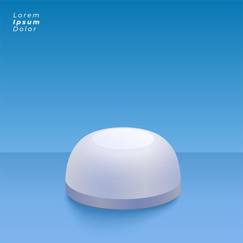 round 3d object on blue studio background