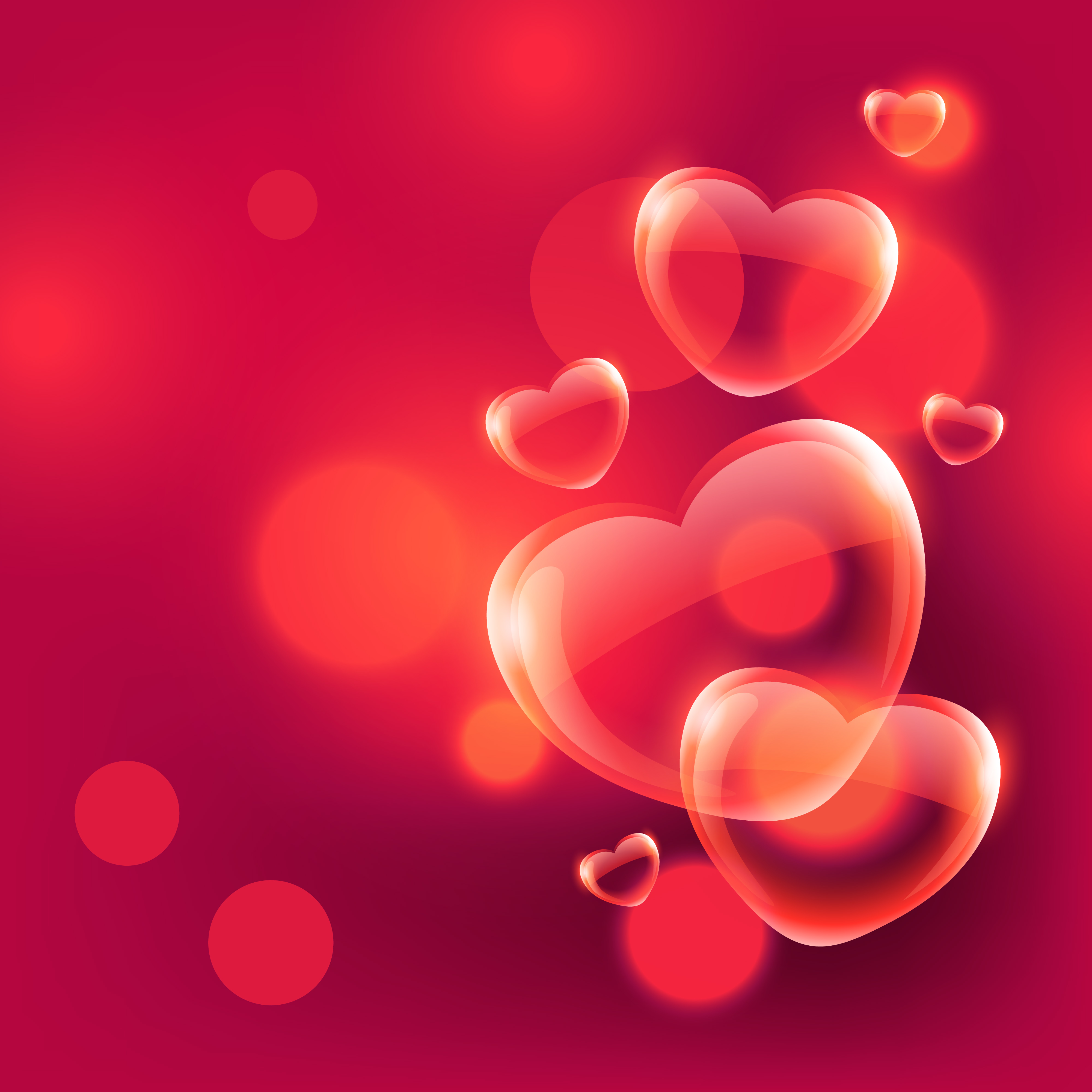 Pictures Of Beautiful Bedrooms And Living Rooms: Beautiful Love Hearts Bubbles Floating In Air On Red Bokeh