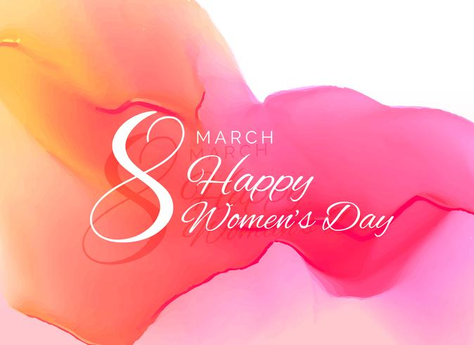 Kvinnans dag firande hälsningskortdesign med vattenfärg eff