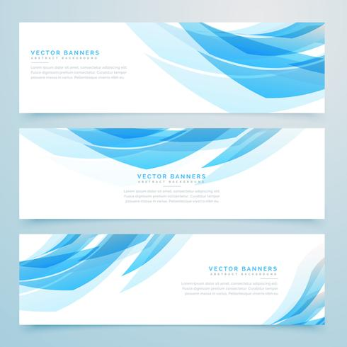 abstract light blue banners set design