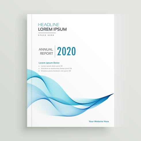 clean blue wavy business brochure design