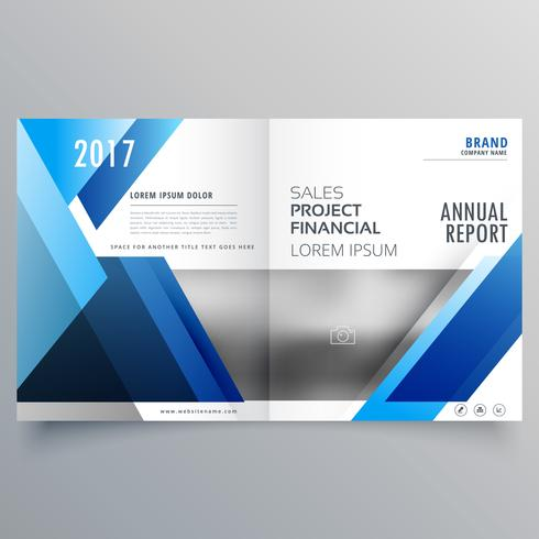 blue business bi fold brochure design template in geometric shap