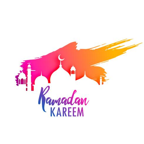 ramadan kareem design with colorful paint splash