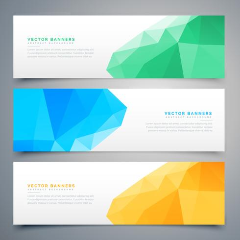 abstract low poly colorful banners and headers set