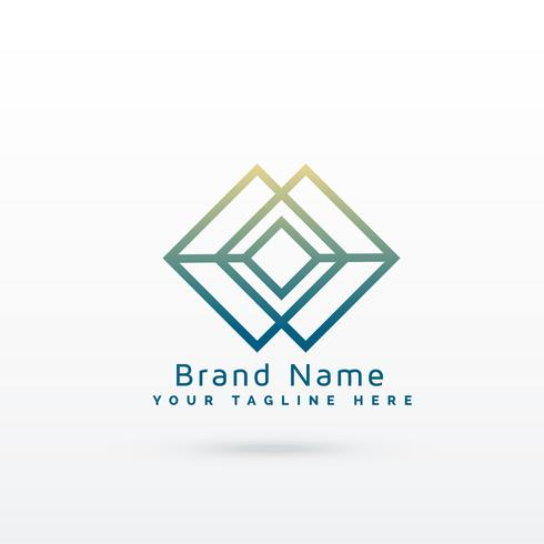 abstract diamond line logo concept design