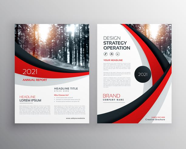 business flyer brochure design template with red and black wavy