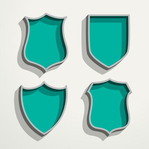 3d retro style four badges set