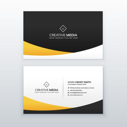 yellow and black business card design in clean minimal style