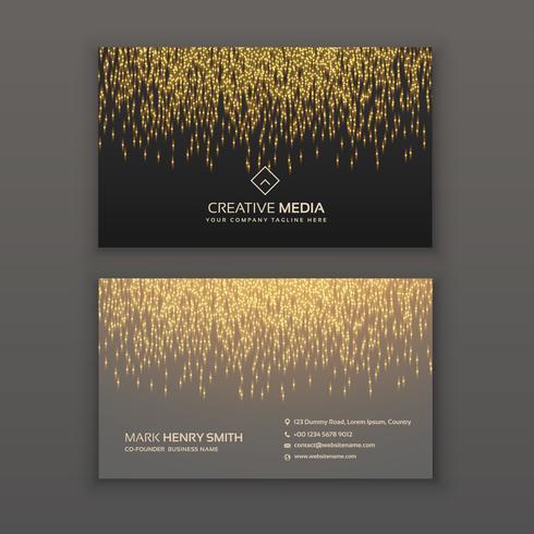 creative business card design with golden glitter light effect