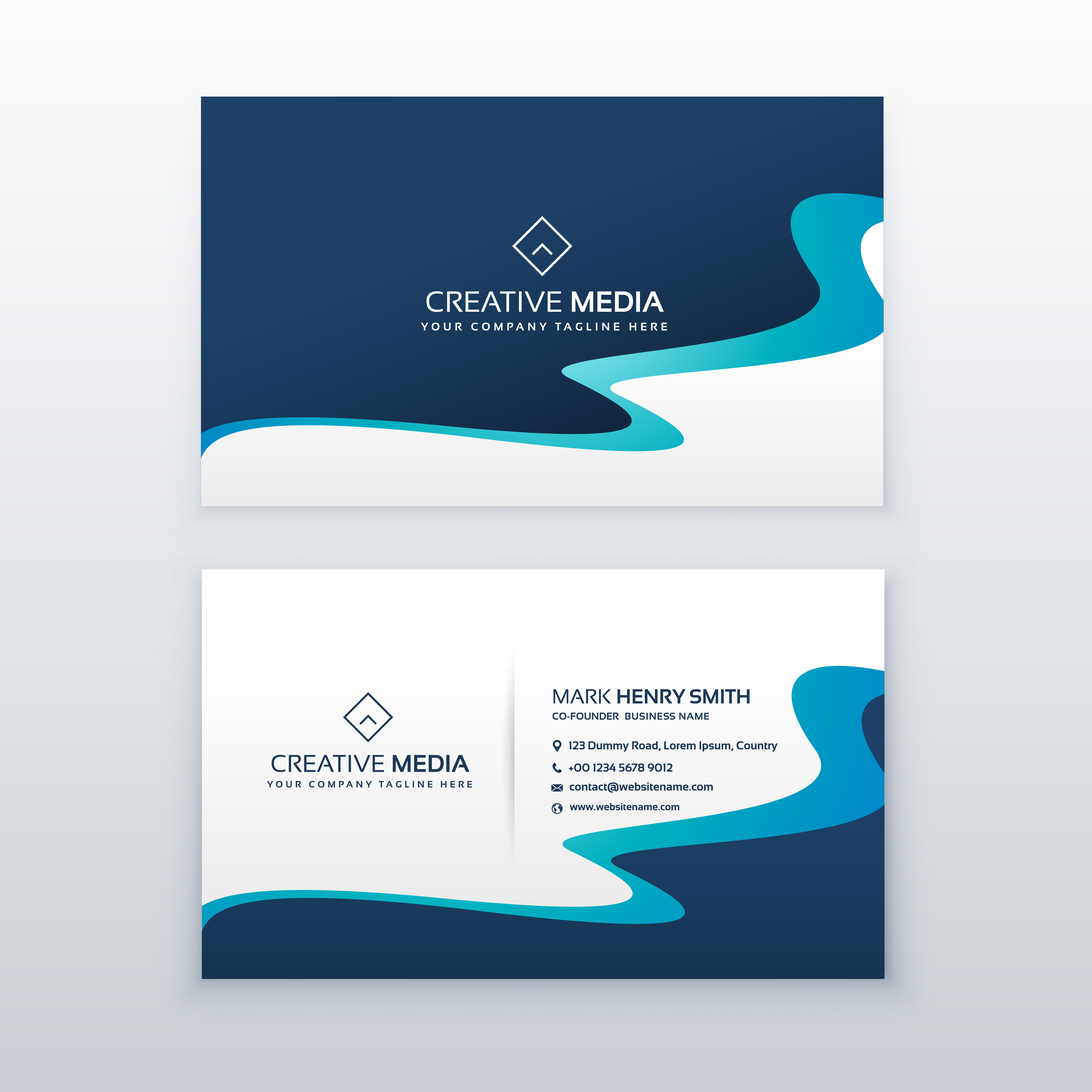 Awesome blue wavy business card design for your brand download awesome blue wavy business card design for your brand download vetores e grficos gratuitos reheart Images