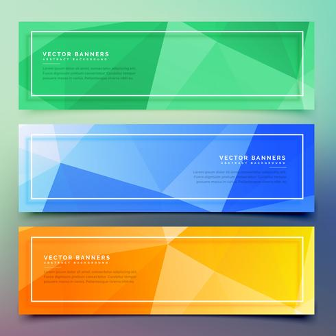 set of three geometric colorful banners